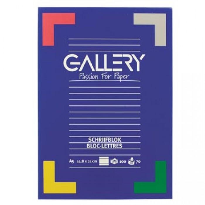GALLERY Schrijfblok 100vel A5 70gr Gelijnd