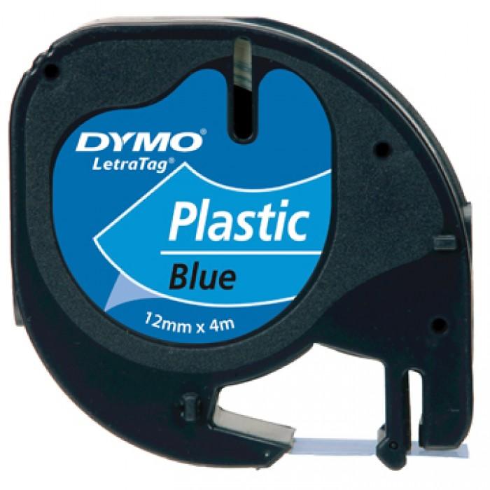 DYMO Letratag Plastiek Blauw 4m x 12mm