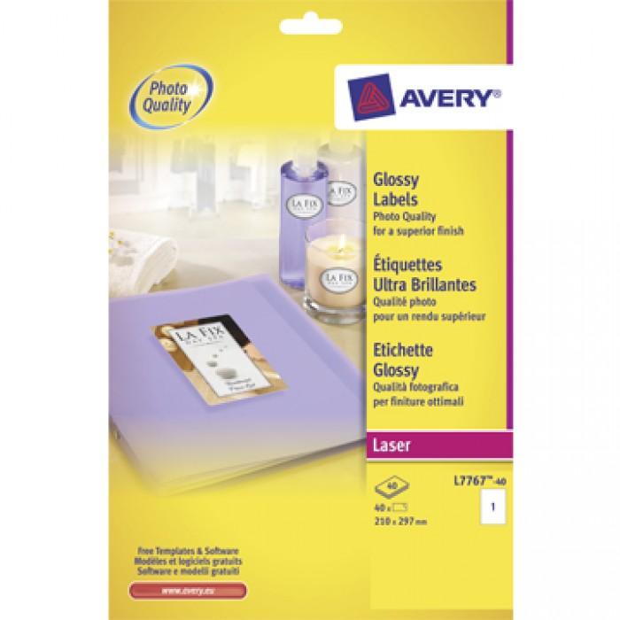 AVERY 40 Vel Glanzende Etiketten A4 voor Laser