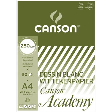 CANSON Academy 250gr Wit Blok 20vel A4