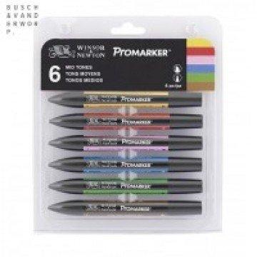 W&N Promarker 6st  Mid Tinten