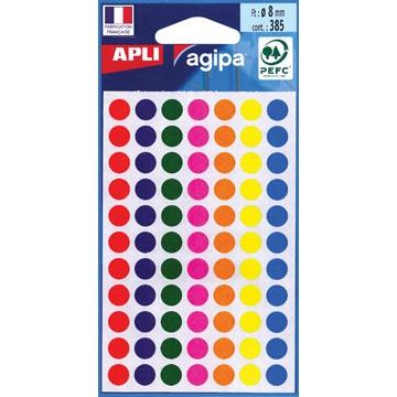 AGIPA Ronde Etiketten 8mm 385st 7 Kleuren Assorti