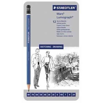 LUMOGRAPH 12 in etui: hardheden 8B - 2H