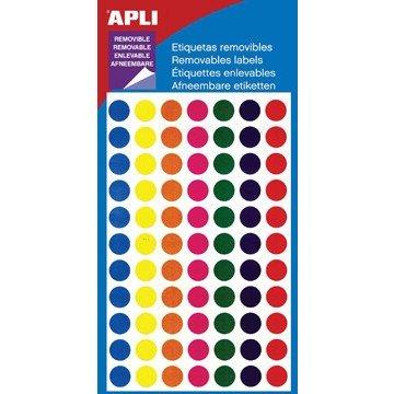 APLI Ronde Etiketten 8mm 7kleuren Assorti 308st