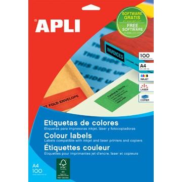 APLI GEEL Gekleurde etiketten ft 210 x 297 mm