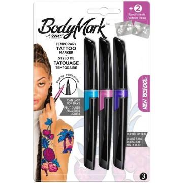 BIC Bodymark 3 Tattoomarker NewSchool + 2Sjablonen