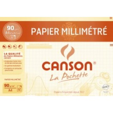 CANSON Pochet MM-papier Bister A4 12 vel 72 gr