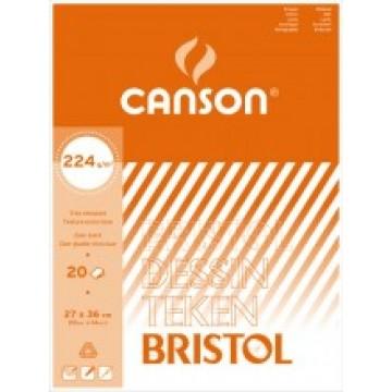 CANSON Bristol 20 vel 27x36  224gr  Wit