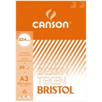 CANSON Bristol 20 vel A3  224gr  Wit