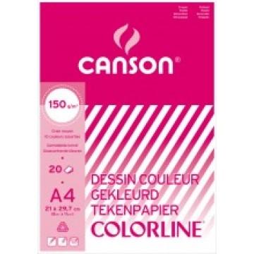 CANSON Blok 20vel Colorline A4 10 Kleuren Assort