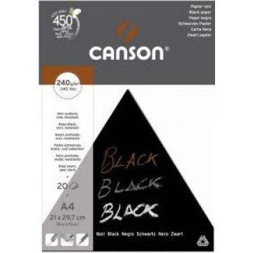 CANSON Blok Tekenpapier A4 240gr  Zwart