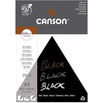 CANSON Blok Tekenpapier A3 240gr  Zwart