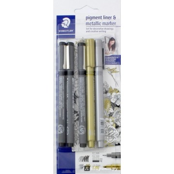 STAEDTLER Pigment Liner 0,1+0,2+1,2 +Goud+Zilver