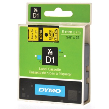 DYMO D1 Tape 9mm x 7m Zwart/Geel