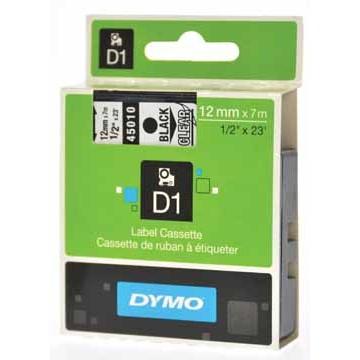 DYMOTape D1 Zwart/Transparant 12mm x 7m