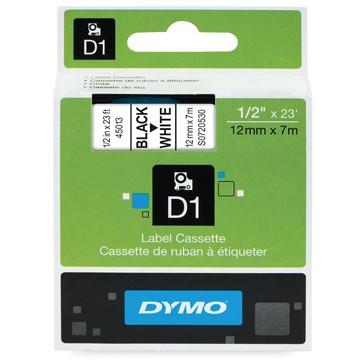 DYMO Tape D1 Zwart/Wit 12mm x 7m
