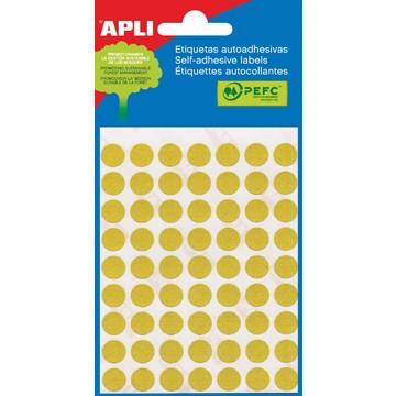 APLI Etiketten 10mm Geel 5vel