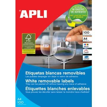 APLI afneembare witte etiketten ft 210 x 297 mm