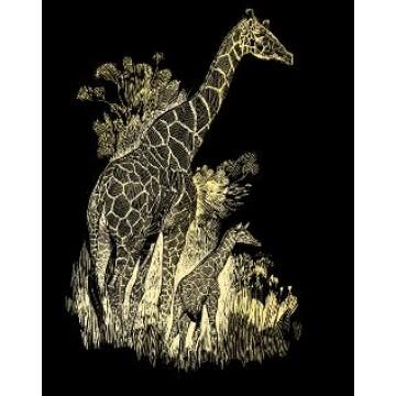 "REEVES Schraapkarton Goud 20x25cm ""Giraffen"""