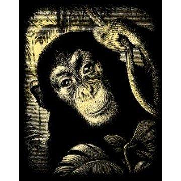 """REEVES Schraapkarton Goud 20x25cm """"Chimpansee"""