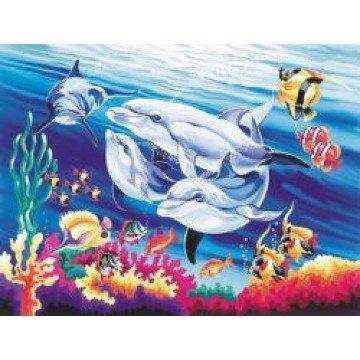 """REEVES Schilderen op nummer """"Dolfijnen"""" 30x40cm"""