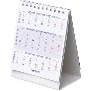 BREPOLS Mini 3-Maandskalender Benelux 2020