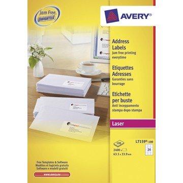 AVERY witte laseretiketten QuickPeel doos van 100